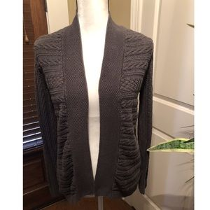 Croft & Barrow Gray Cable Knit Open Front Cardigan